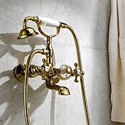 クラシック ぜいたく 壁式 滝状吐水タイプ ハンドシャワーは含まれている 壁式 with  真鍮バルブ 3つのハンドル二つの穴 for  Ti-PVD , 浴槽用水栓