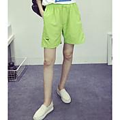 Mujer Chic de Calle Tiro Medio Microelástico Holgado Shorts Pantalones, Un Color Verano