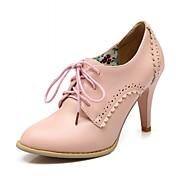 Mujer Zapatos PU Primavera Otoño Confort Innovador Tacones Tacón Stiletto Dedo Puntiagudo Con Cordón Para Vestido Fiesta y Noche Blanco