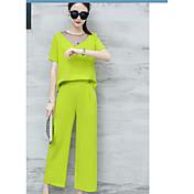 Mujer Simple Casual Diario Casual Primavera Verano T-Shirt Pantalón Trajes,Escote Redondo Un Color Con Texturas Manga Corta Elegante