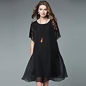 Mujer Casual Corte Ancho Gasa Vestido - Gasa, Un Color Asimétrico