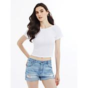 Mujer Espalda al Aire - Camiseta Un Color Algodón