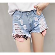 Mujer Sencillo Tiro Medio Microelástico Shorts Vaqueros Pantalones,Perneras anchas Un Color