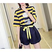 レディース 日常 夏 Tシャツ(21) パンツ スーツ,現代風 ラウンドネック ライン/ウェイブ 半袖 マイクロエラスティック
