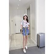 Mujer Empapa Noche Verano T-Shirt Falda Trajes,Escote Redondo Un Color Manga Corta