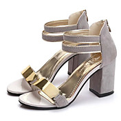 Mujer Sandalias Zapatos del club PU Primavera Verano Casual Vestido Zapatos del club Hebilla Tacón Cuña Negro Beige Gris Rojo7'5 - 9'5