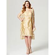 シース/コラムジュエリーネック膝丈レースタフタプラスlan tingbride®による花嫁衣装のサイズマザー