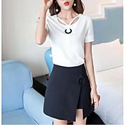レディース カジュアル/普段着 夏 Tシャツ(21) スカート スーツ,現代風 ソリッド 半袖
