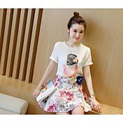 Mujer Casual Diario Casual Primavera Verano T-Shirt Falda Trajes,Escote Redondo Floral Estampado Manga Corta Microelástico