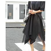 レディース ストリートファッション ルーズ お出かけ 膝丈 スカート 純色 プリント 春 夏