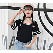 Mujer Corto Cardigan Casual/Diario Simple,Un Color Escote Barco Manga Corta Algodón Verano Medio Microelástico