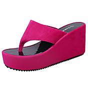 Mujer Zapatillas y flip-flop Confort Suelas con luz PU Verano Casual Vestido Confort Suelas con luz Tacón Cuña Negro Fucsia Rosa2'5 - 4'5