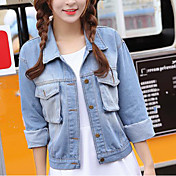 レディース 日常 夏 デニムジャケット,現代風 シャツカラー ソリッド ショート その他 長袖