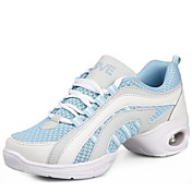 Damer Dansesko Ægte Læder Sneakers Udendørs Lave hæle Hvid Sort Rød Blå 2,5 - 4,5 cm