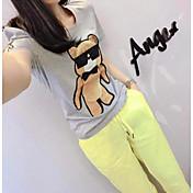 Mujer Vintage Noche Verano T-Shirt Pantalón Trajes,Escote Redondo Un Color Personajes Manga Corta Espalda al Aire Microelástico