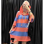 レディース カジュアル/普段着 ロング プルオーバー,カラーブロック フード付き 七分袖 その他 秋 ミディアム マイクロエラスティック