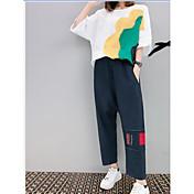 Mujer Vintage Noche Casual/Diario Primavera Verano T-Shirt Pantalón Trajes,Escote Redondo Un Color A Rayas Estampado Manga Corta