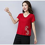 レディース カジュアル/普段着 Tシャツ,アジアン・エスニック Vネック 刺繍 コットン 半袖