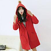 レディース カジュアル/普段着 秋 冬 コート,シンプル フード付き ソリッド レギュラー コットン 長袖