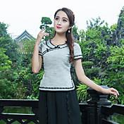 女性用 Tシャツ, アジアン・エスニック カラーブロック コットン リネン
