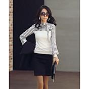 Mujer Simple Casual/Diario Camiseta,Escote Redondo Un Color A Rayas Manga Larga Algodón