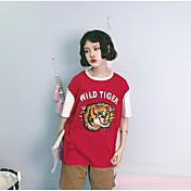レディース カジュアル/普段着 夏 Tシャツ,ヴィンテージ ラウンドネック プリント コットン 半袖