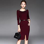 レディース ストリートファッション お出かけ シース ドレス,ソリッド スクエアネック 膝丈 長袖 ポリエステル 秋 ミッドライズ マイクロエラスティック ミディアム
