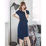 Mujer Vaina Vestido Casual/Diario Un Color Escote Redondo Asimétrico Manga Corta Nailon Verano Tiro Medio Rígido Medio