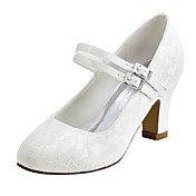 Mujer Zapatos de boda Pump Básico Satén Elástico Primavera Otoño Boda Fiesta y Noche Cristal Tacón Robusto Blanco Marfil 5 - 7 cms