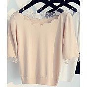 Mujer Simple Casual/Diario Camiseta,Escote Barco Un Color Manga Corta Algodón Otro