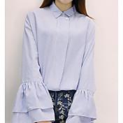 Mujer Simple Bonito Casual/Diario Primavera Camisa,Cuello Camisero A Rayas Manga Larga Algodón Medio