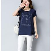レディース お出かけ カジュアル/普段着 夏 Tシャツ,シンプル ラウンドネック ソリッド フラワー コットン 半袖 薄手