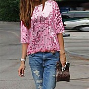 Mujer Sofisticado Discoteca Verano Otoño Camiseta,Escote Redondo Un Color Media Manga Licra Medio
