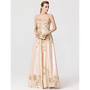 Princesa Joya Hasta el Suelo Tul Satén Estirado Evento Formal Vestido con Apliques Detalles de Cristal por TS Couture®