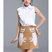 レディース カジュアル/普段着 夏 シャツ スカート スーツ,シンプル シャツカラー 猫 ノースリーブ マイクロエラスティック