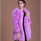 レディース プラスサイズ 秋 冬 ファーコート,シンプル ラウンドネック ソリッド ロング フェイクファー 長袖