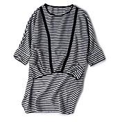 レディース お出かけ カジュアル/普段着 夏 Tシャツ,ストリートファッション ラウンドネック ストライプ ポリエステル 七分袖 ミディアム