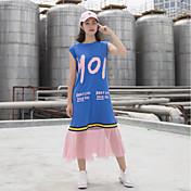 レディース カジュアル/普段着 Tシャツ,シンプル ラウンドネック レタード コットン ノースリーブ