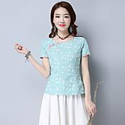 Mujer Vintage Tejido Oriental Casual/Diario Camiseta,Escote Redondo Floral Manga Corta Algodón Lino