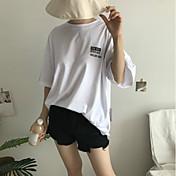レディース カジュアル/普段着 Tシャツ,シンプル ラウンドネック プリント レタード コットン 七分袖