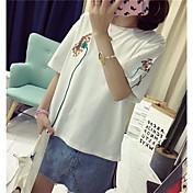 レディース カジュアル/普段着 夏 Tシャツ,キュート アジアン・エスニック ラウンドネック 刺繍 コットン ハーフスリーブ