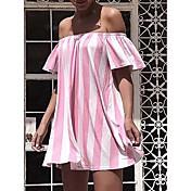 レディース セクシー クラブ フレア ドレス,ストライプ ストラップレス 膝上 半袖 シルク 夏 ハイライズ マイクロエラスティック 半透明