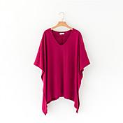 Mujer Simple Casual/Diario Camiseta,Escote Redondo Un Color Manga 3/4 Algodón