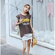Mujer Sexy Casual/Diario Camiseta,Escote Redondo Un Color Letra Manga Corta Algodón