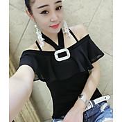 レディース カジュアル/普段着 Tシャツ,シンプル ボートネック ソリッド コットン 半袖