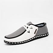 Hombre Zapatillas de deporte Confort Suelas con luz Lino PU Primavera Verano Otoño Invierno Casual Paseo Combinación Tacón PlanoBlanco