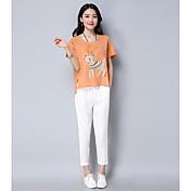 Mujer Simple Casual/Diario Verano T-Shirt Pantalón Trajes,Escote Redondo Estampado Animal Manga Corta
