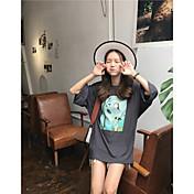 Mujer Chic de Calle Casual/Diario Camiseta,Escote Redondo Estampado Manga 3/4 Algodón