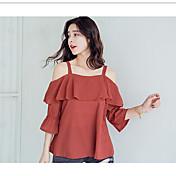 Mujer Simple Casual/Diario Verano Camiseta,Escote Barco Un Color Manga Larga Otro