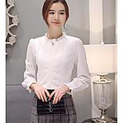 Mujer Simple Casual/Diario Trabajo Primavera Blusa,Escote Chino Un Color Manga Larga Acrílico Medio